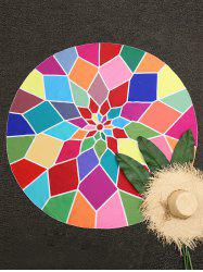Color Block Geometric Round Beach Throw -