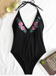 Backless Embroidery One Piece Swimsuit -
