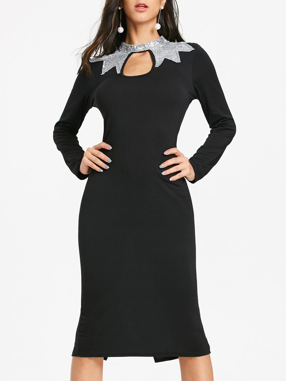 Discount Sequins Keyhole Long Sleeve Pencil Dress