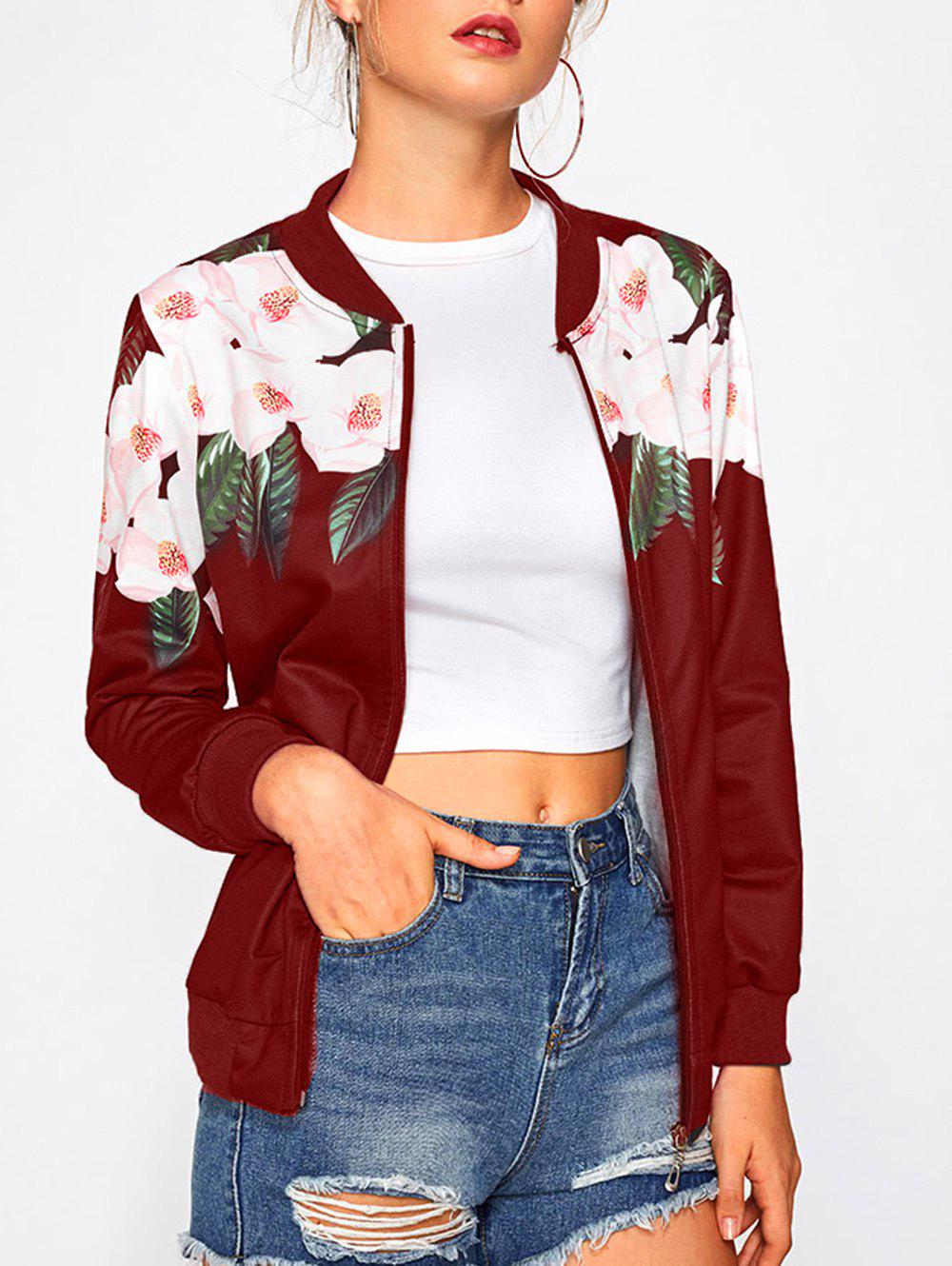 Sale Long Sleeve Floral Insert Bomber Jacket