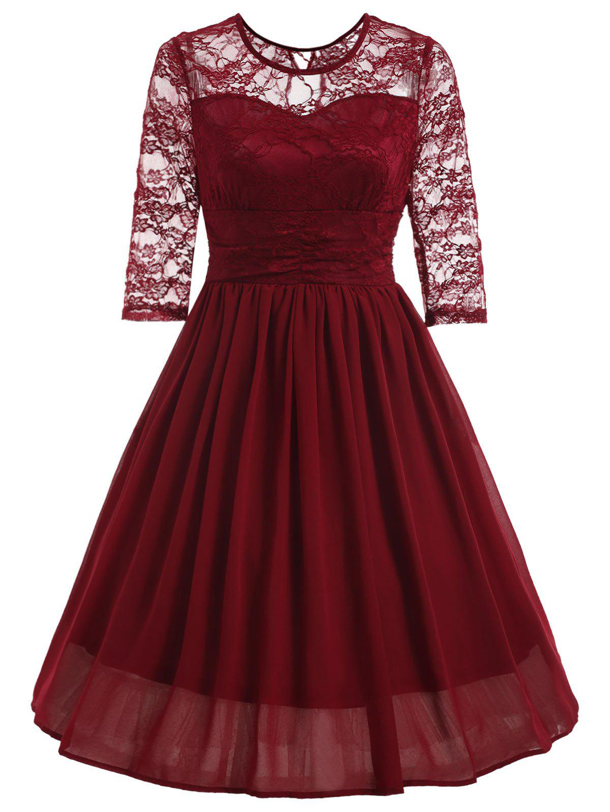 26 Off Retro Lace Insert Fit And Flare Dress Rosegal
