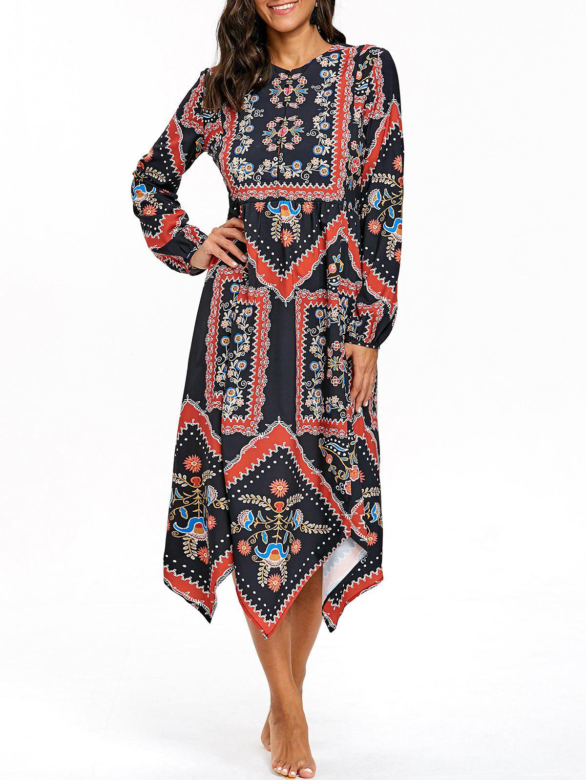 Chic Floral Print Half Button Asymmetrical Dress