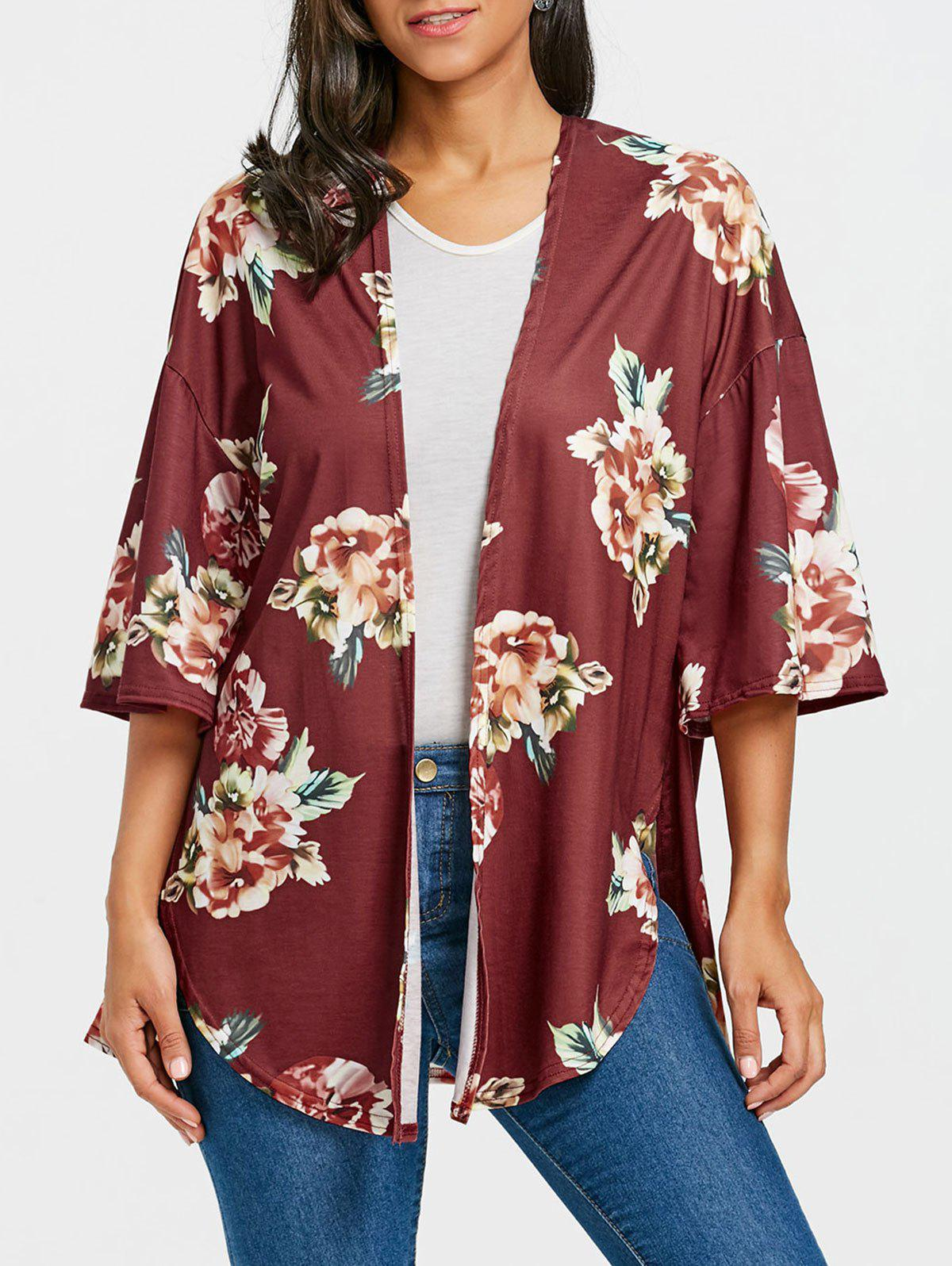 Shops Floral Print Drop Shoulder Side Slit Cardigan