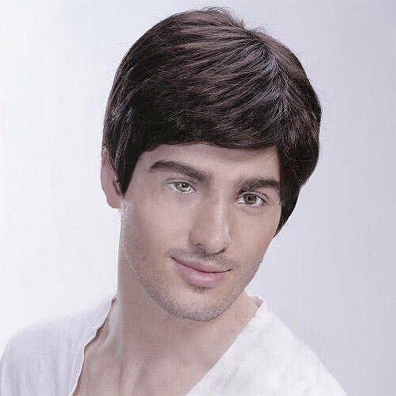 Online Men Short Inclined Bang Natural Straight Human Hair Wig