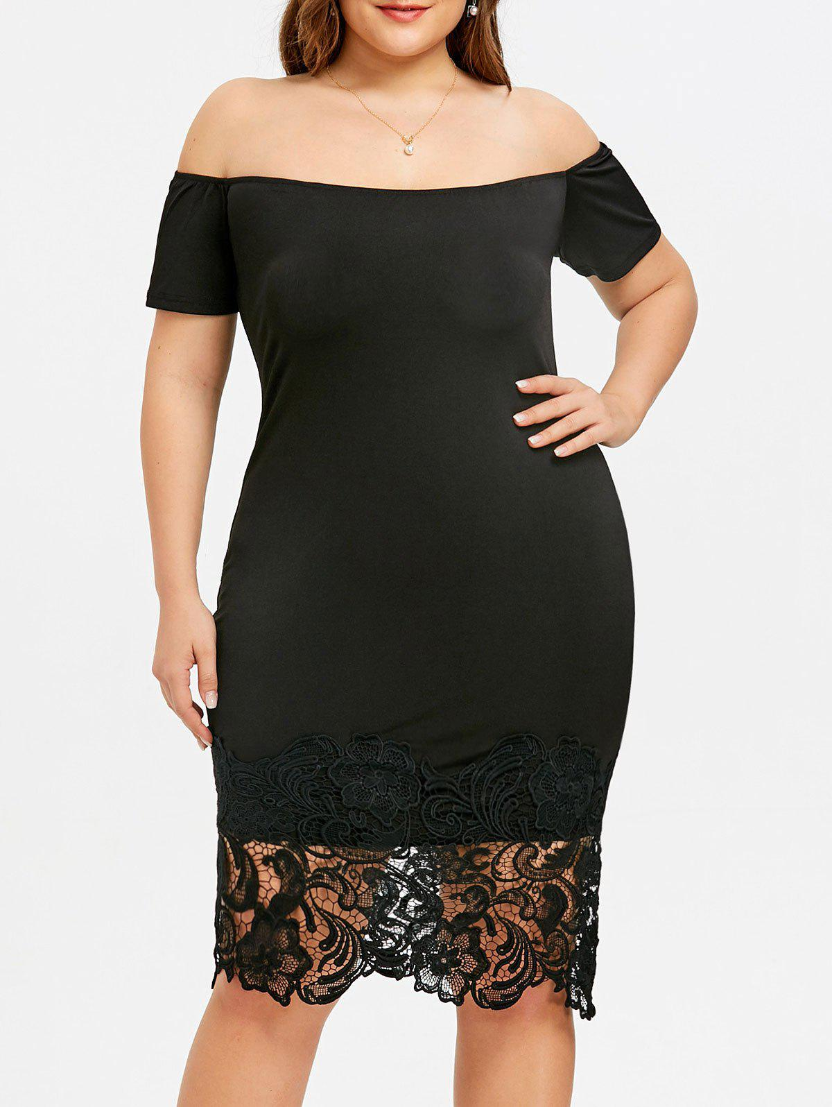 Discount Plus Size Open Shoulder Lace Trimmed Dress