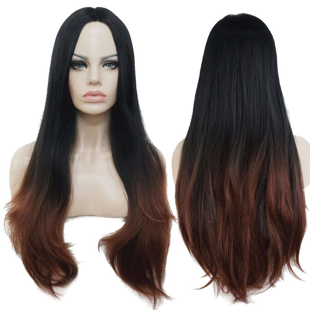 Unique Long Center Parting Straight Ombre Synthetic Wig