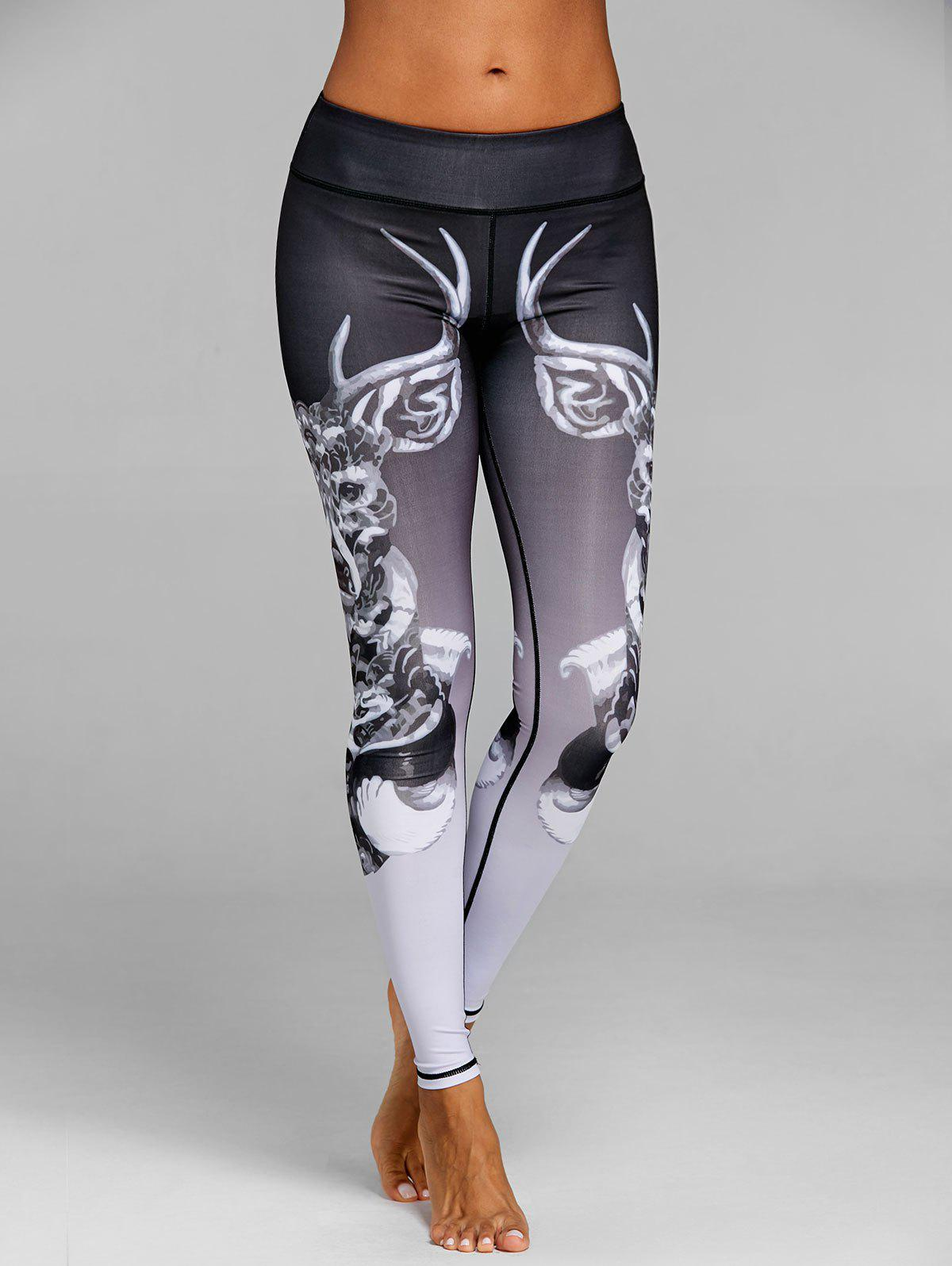 Hot Skinny Elk Print Sports Leggings