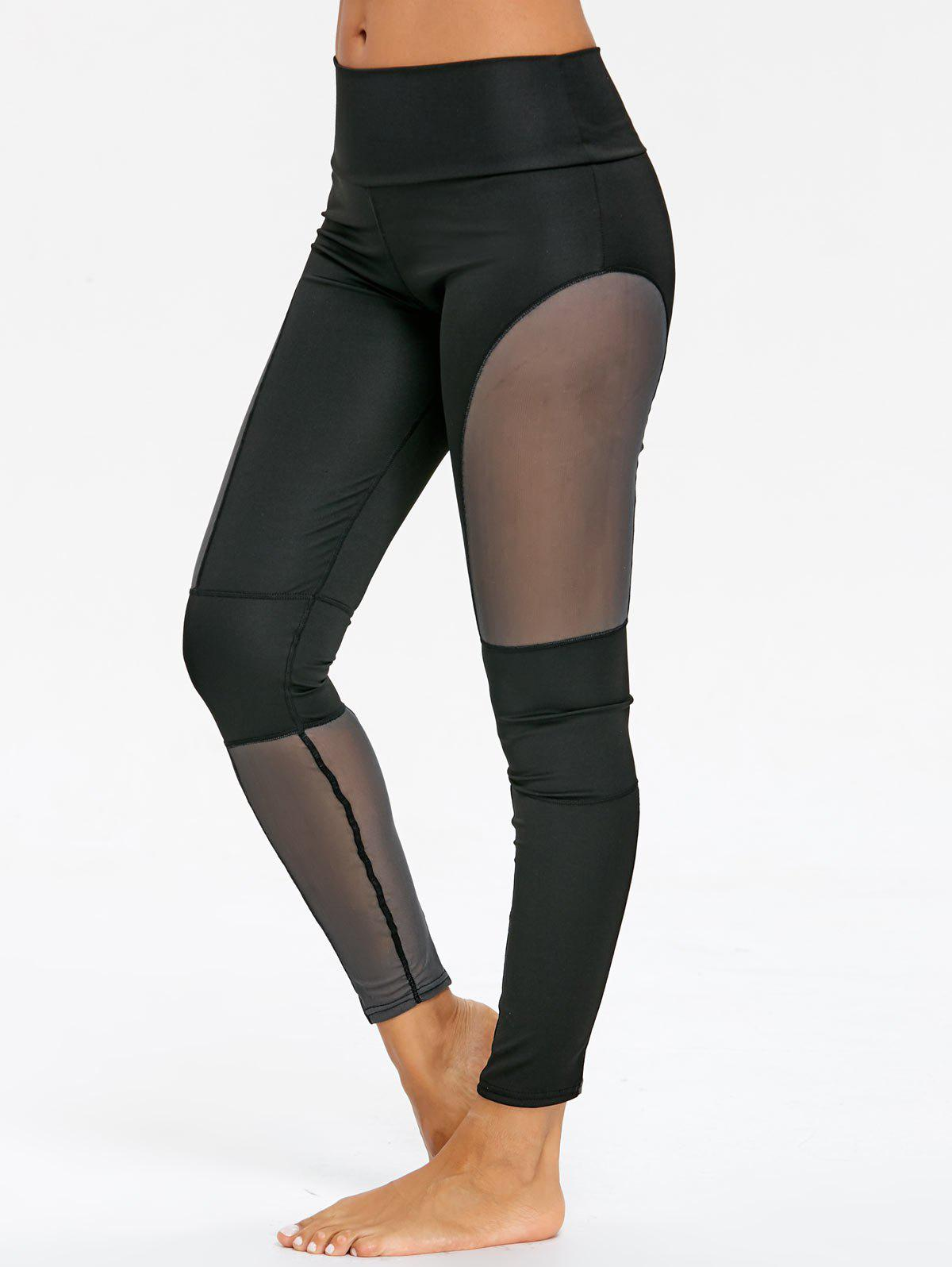 Cheap See Through Mesh Panel Workout Leggings