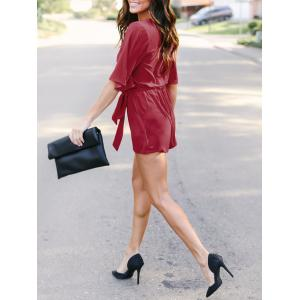 Half Sleeve Chiffon Romper with Belt -