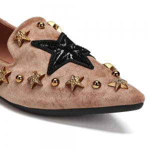 Star Metal Embellished Pointed Toe Flats -