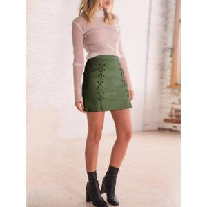 Faux Suede Criss Cross A-line Skirt -