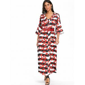 Bell Sleeve Striped Leaves Print Maxi Coat -