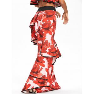 Ruffled High Waisted Floral Maxi Skirt -