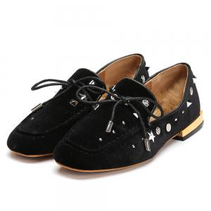 Lace Up Front Studs Square Toe Flats -