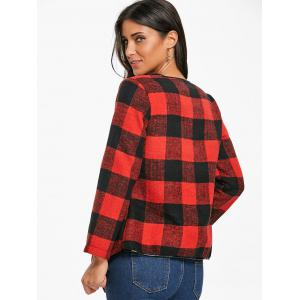 Open Front Asymmetrical Plaid Coat -