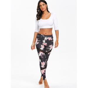 High Waist Mesh Panel Floral Print Leggings -