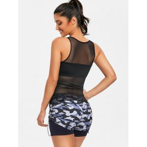 Sheer Mesh Insert Top and Camo Shorts -