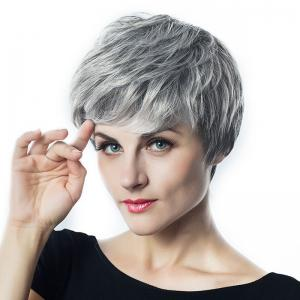Short Side Bang Fluffy Layered Slightly Curly Synthetic Wig -