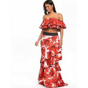 Layered Floral Print Off The Shoulder Crop Top -