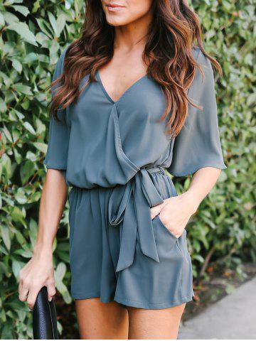 Fancy Half Sleeve Chiffon Romper with Belt