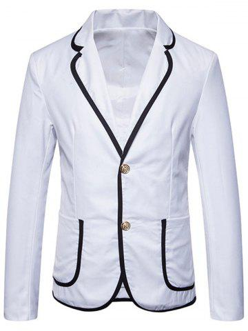 Lapel Collar Contrast Trim Casual Blazer