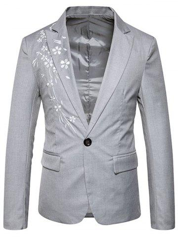 Online One Button Floral Embroidery Casual Blazer