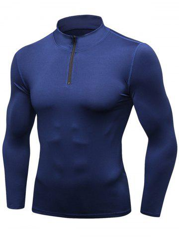 Best Stand Collar Quick Dry Half Zip Stretchy T-shirt