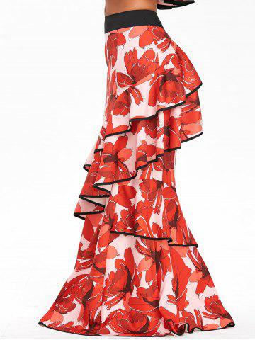 Store Ruffled High Waisted Floral Maxi Skirt