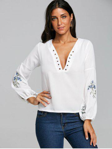 Embroidery Plunging Neckline Chiffon Blouse