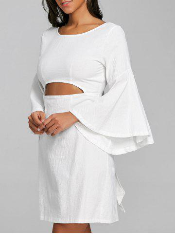 Outfits Bell Sleeve Bowknot Cut Out Shift Dress