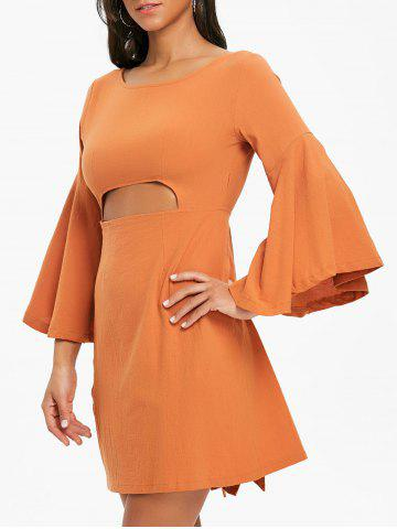 Store Bell Sleeve Bowknot Cut Out Shift Dress