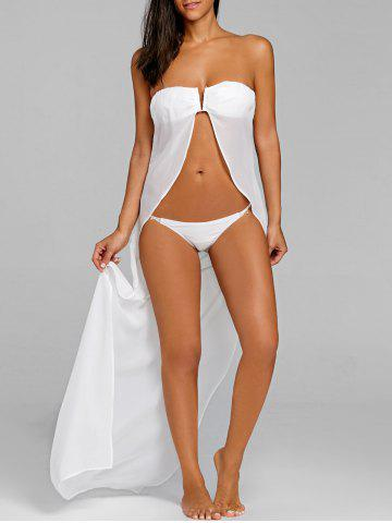 Strapless Open Front Bikini with Cover Up - WHITE - XL