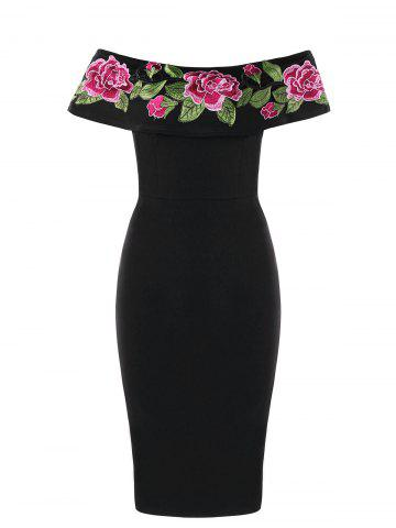 Online Flower Embroidered Off The Shoulder Bodycon Dress