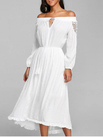 Fashion Off The Shoulder High Low Crochet Dress