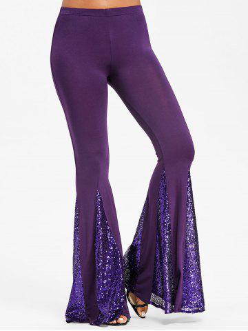Cheap Sequin Flare Dance Pants