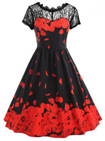 Discount Plus Size Lace Rose Petal Pattern Midi Dress