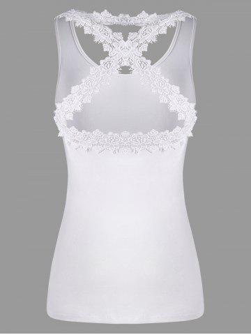 Trendy Lace Panel Criss Cross Tank Top