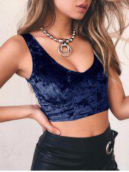 V Neck Velvet Crop Tank Top -