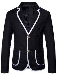 Lapel Collar Contrast Trim Casual Blazer -