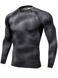 Quick Dry 3D Printed Stretchy Long Sleeve T-shirt -