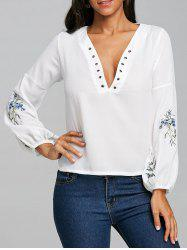 Embroidery Plunging Neckline Chiffon Blouse -
