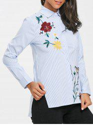 Striped Embroidered High Low Blouse -