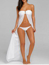 Strapless Open Front Bikini with Cover Up -