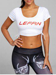 Letter Print Drawstring Ripped Cropped Sports Tee -