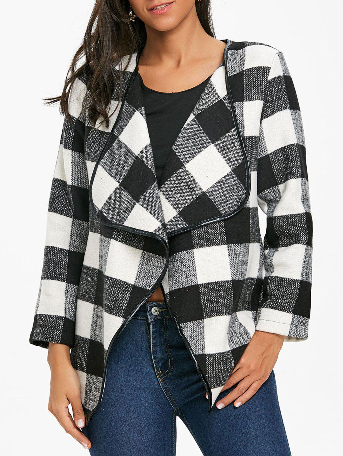 Trendy Open Front Asymmetrical Plaid Coat