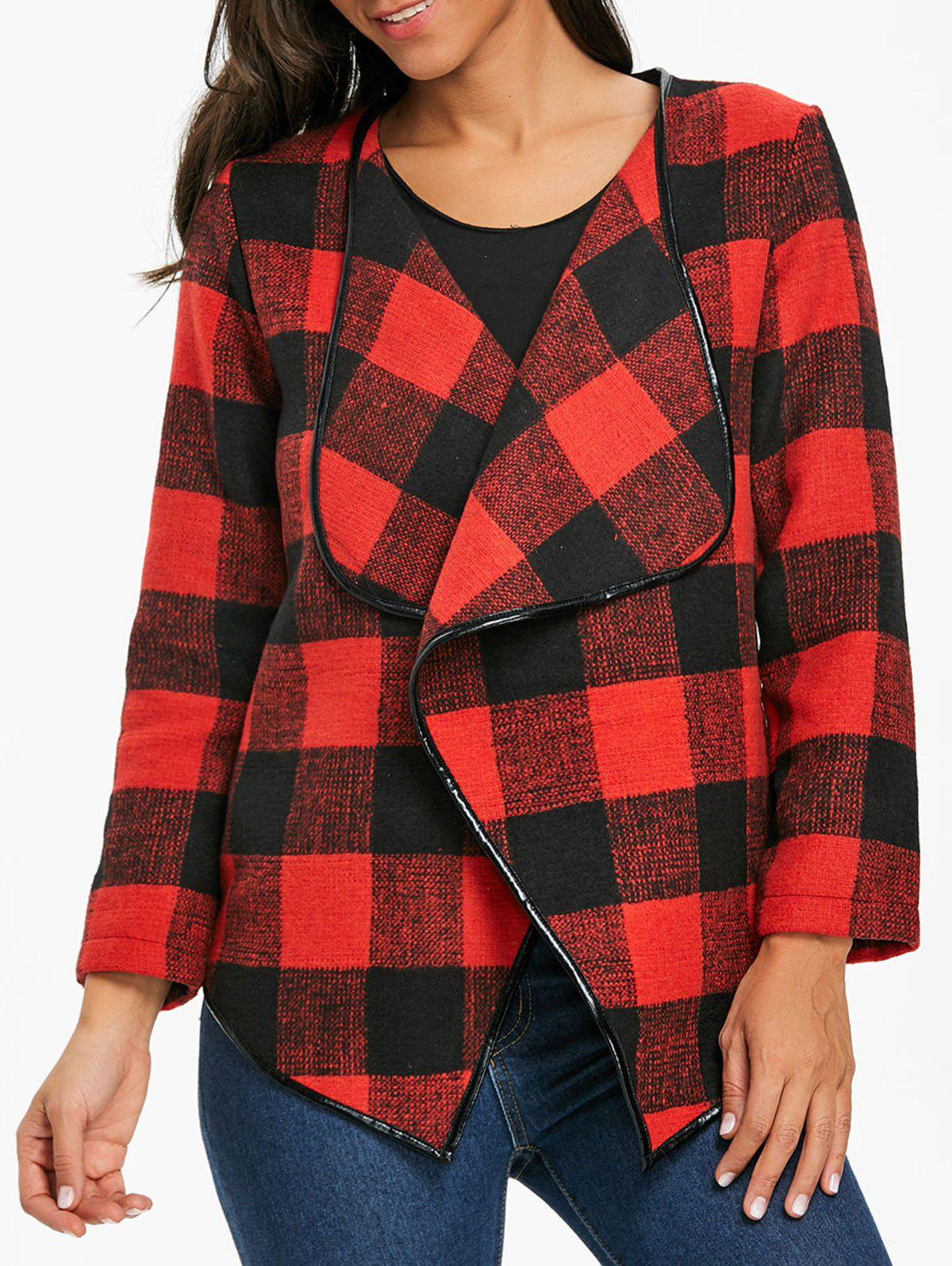 New Open Front Asymmetrical Plaid Coat