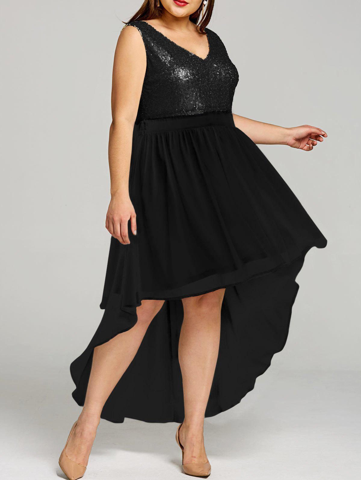 Affordable Plus Size Sparkly High Low Hem Dress