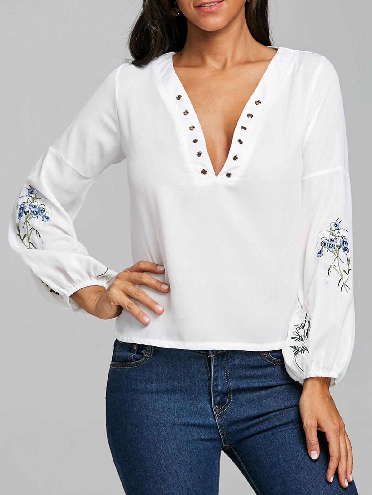 Affordable Embroidery Plunging Neckline Chiffon Blouse