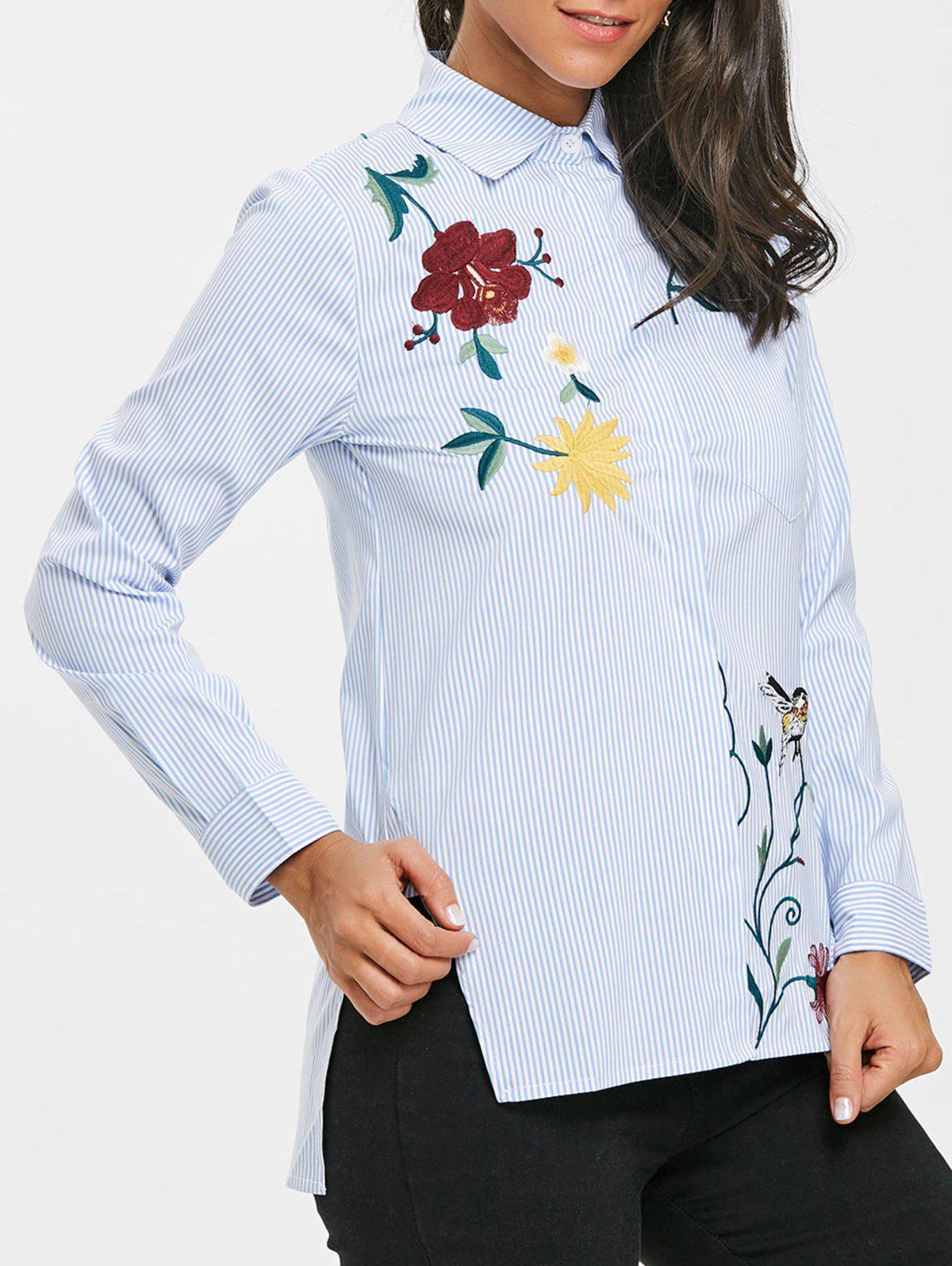 Fashion Striped Embroidered High Low Blouse