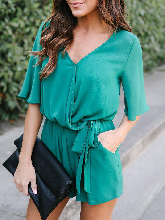 Best Half Sleeve Chiffon Romper with Belt